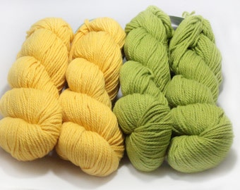 TWO Skeins Spud and Chloe Sweater Yarn, Destash, Grass Green OR Firefly Yellow, Wool and Organic Cotton, Colors 7502 and 7505