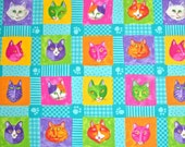 COUPON CODE SALE - Moda, Prisma Cats, Turquoise, Ingrid Slyder, 100% Cotton Quilt Fabric, Cat Fabric, Kitty, Quilting Fabric