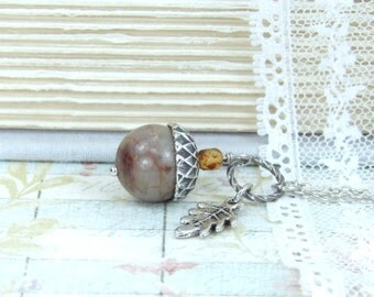 Acorn Necklace Forest Jewelry Fall Necklace Acorn Jewelry Nature Necklace Autumn Jewelry Acorn Pendant Necklace