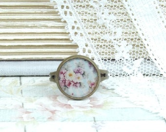 Flower Ring Nature Ring Rose RIng Shabby Chic Ring Adjustable Ring Spring Ring Floral Ring