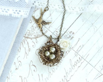 Three Egg Nest Necklace Pearl Nest Necklace Mothers Day Gift Nest Pendant Bird Nest Necklace