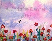 Original Art Poppy Field & Pastel Sky Poppies ACEO Painting