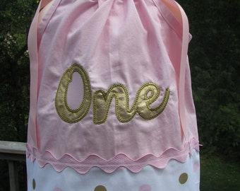 one pillowcase dress, gold and pink 1st birthday, 1st birthday,  pink and gold pillowcase dress, add any name,1st birthday gold one