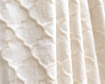 Natural Off-White Moroccan Quatrefoil Fabric for Upholstery and Draperies by the yard
