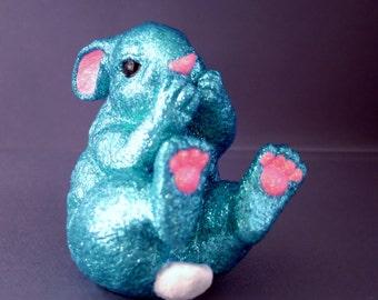 Blue Giggling Bunny Figurine