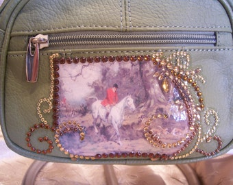 Green Leather Crossbody Purse with a Fox Hunting Secen and Rhinestones
