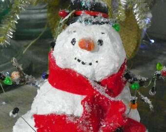 One of a Kind Sculpted paper Mache Folk art Snowman