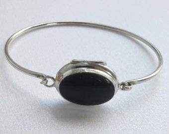 Sterling Silver Onyx Oval Bracelet Holds 2 photos