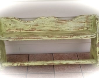 Wooden Shelf Up-Cycled Bathroom or Laundry Room  Shelf with Towel Bar  Handmade Distressed Shelf
