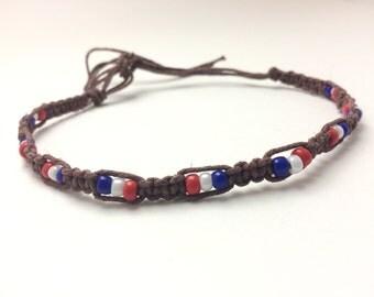 USA Hemp Anklet Red, White, Blue Beads (0225)