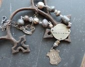 RESERVED for C   Antique Assemblage Necklace French Military Dog Tag