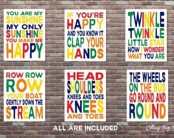 Playroom Decor,Childrens Songs,6 pc Set, Childrens Wall Art, YOU PRINT, Playroom Art, Childrens Bedroom Decor,Music Art, Nursery Art
