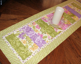 "Quilted Table Runner for Spring, Green and Lavender Strippy Easter Table Runner Quilt, 44"" x 15"""