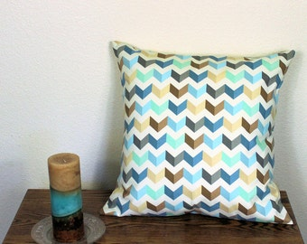 "Waverly Tip Top Chevron Decorator Throw Pillow Cover in Cotton Fabric -  18"" or 20"" Covers, Aqua Blue and Brown, B2"