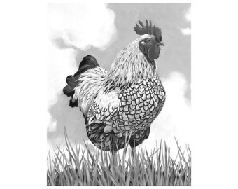 Welcome to the Farm Rooster Art Print 8 X 10