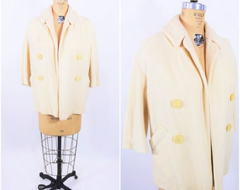 1950s jacket vintage 50s pale yellow swing open car jacket M