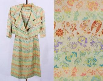 "1950s brocade dress | green satin ethnic brocade cocktail dress set | vintage 50s dress | W 24"""