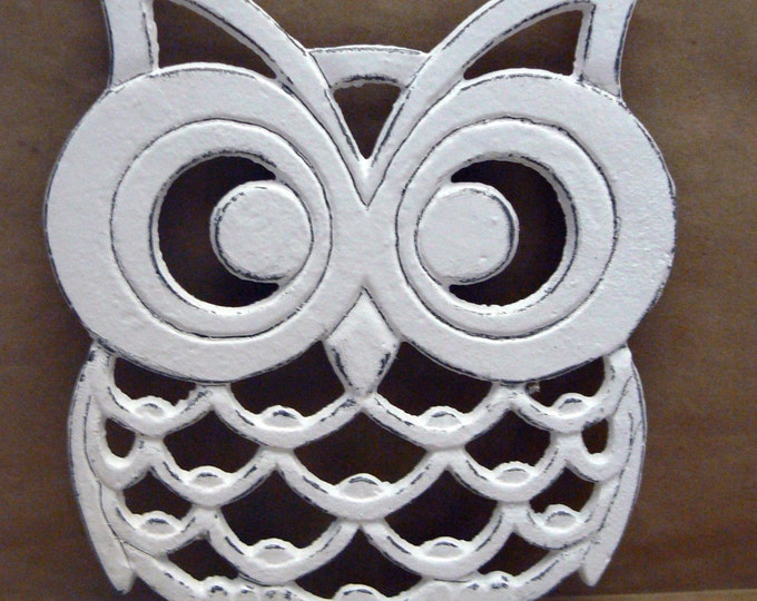 Cast Iron Owl Trivet White Shabby Chic Woodland Kitchen Hot Plate Home Decor
