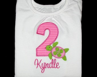 Custom Personalized Applique Birthday Number SEA TURTLE and NAME Shirt or Bodysuit - Pink and Lime Green