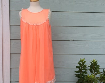 Vintage Lingerie 1960s Texsheen Sleeveless Nightgown Peach Orange
