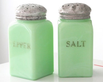 FREE SHIPPING - McKee Jadite Jadeite Square Salt and Pepper Shakers