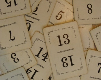 15 Vintage Antique Numbered Playing Cards Great for Table Numbers