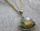 Multi-Strand Mixed Metals Labradorite Pendant Necklace, Sterling Silver and Brass Chain Necklace
