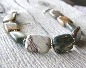 Picasso Jasper Medical ID Bracelet, Mens or Womens gemstone Alert Bracelet, Silver or Stainless Steel Clasp Replacement Bracelet