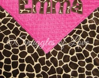 Giraffe Blanket - Personalized Baby Blanket - Giraffe Baby Blanket - Giraffe Minky Blanket - Personalized Blanket - Applique Blanket