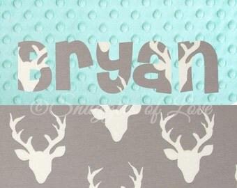 Deer Blanket - Personalized Deer Baby Blanket - Personalized Baby Blanket - Gray Deer Buck Blanket, Grey and Aqua Mint Blanket, Name Blanket