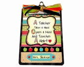 Personalized Teacher Gift Clipboard Back To School  Apples and Alphabet
