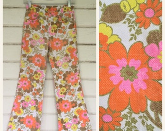 vintage 1960s FLOWER POWER bell bottoms pants