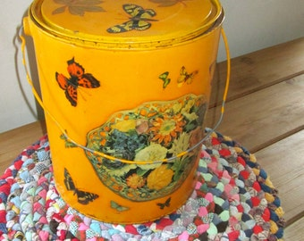 Vintage Decoupaged Tin/Folk Art/Hand Decorated/ Hand Painted/Decoupaged Images of Florals Butterflies Dog/Storage Tin/Decorative Tin