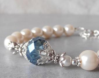 Pearl Bracelet Bridesmaid Bracelet Ivory Pearl and Blue Crystal Wedding Jewelry Something Blue Beaded Bracelet Gift for Bridesmaid Under 25