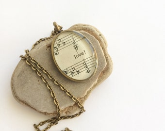 love! vintage hymnal necklace - love necklace - vintage hymn music resin pendant - inspirational one of a kind gift - music jewelry