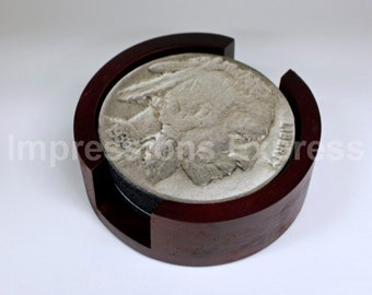 Indian Head Nickel Coin Coaster Set of 5 with Wood Holder