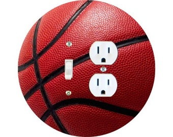Burgundy Basketball Sports Toggle Switch and Duplex Outlet Double Plate Cover