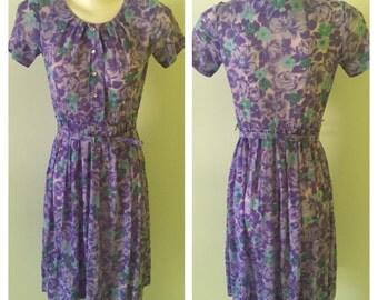 Vintage 60s sheer floral lavender day dress by Berkshire