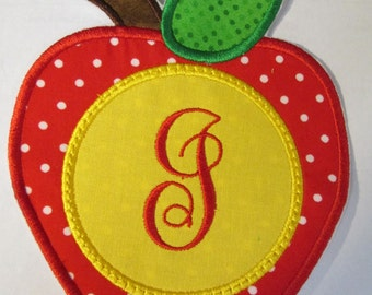 Apple Monogram - Iron On or Sew On Embroidered Applique