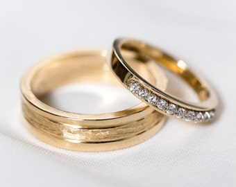 14k Yellow Gold His & Hers Rings | Yellow Gold Wedding Rings | Diamond Halo Wedding Band [The Versailles Wedding Band Set]