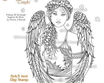 Cybele and Kaida Little Dragon Fairy Tangles Printable Digi