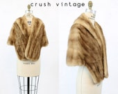 50s Fur Stole Mink Wrap Small  / 1950s Vintage Shawl / Gussie Kane Cape