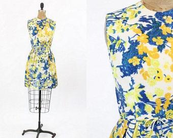 60s Dress Silk XS / 1960s Vintage I.Magnin Floral Dress / Daffodil Garden Frock