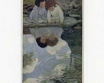 1905 Antique Children's Print of Looking-Glass River by Jessie Willcox Smith