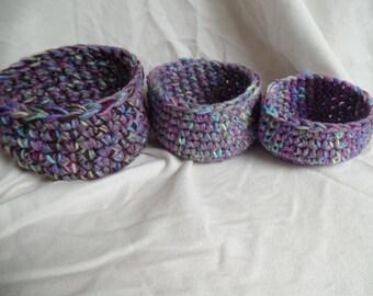 Set of 3 Crochet Nesting Baskets