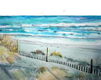 Long Beach Island 4pm    An original watercolor painting.  11 x 14