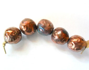 Large 18mm Round Raku Beads, Set of 5