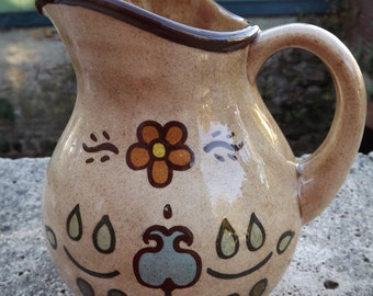 Vintage Pennsylvania Dutch Pottery Pitcher by Karen Pilcher