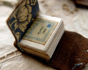 The Little Artist - Mini Wearable Book, Tea-Stained Fold Out Pages, Mini Leather Case - OOAK