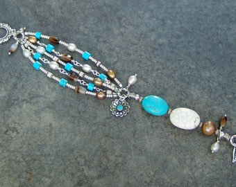 Turquoise and White Magnesite, Freshwater Pearl and Sterling Silver Multi-Strand Bracelet